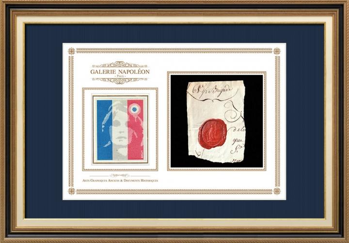 Sigillo di cera - Rivoluzione Francese - 1794 - 68º Semi-brigata | Ritratto di Marianne - Rappresentazione nazionale allegorica della Repubblica francese