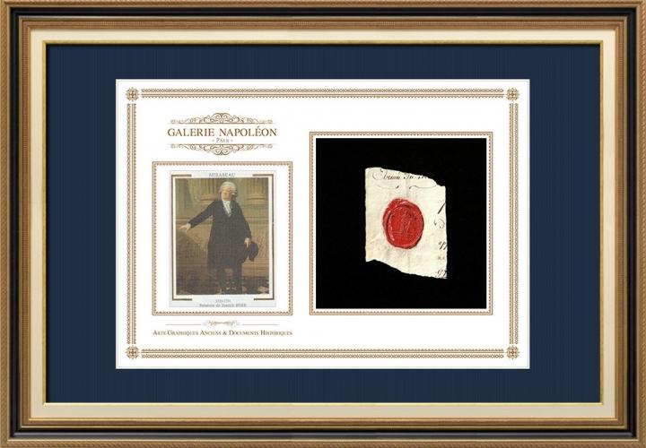 Sigillo di cera - Rivoluzione Francese - 1792 - 46º Reggimento Fanteria | Ritratto di Honoré-Gabriel Riqueti de Mirabeau (1749-1791)