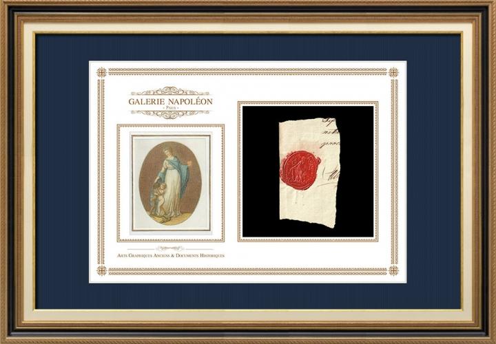 Sigillo di cera - Rivoluzione Francese - 1794 - 9º Semi-brigata Fanteria | Motto Nazionale della Repubblica Francese - Fratellanza