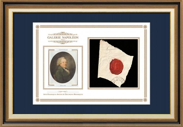 Sigillo di cera - Rivoluzione Francese - 1794 - 23º Semi-brigata Fanteria di Linea | Ritratto di Nicolas de Condorcet (1743-1794)