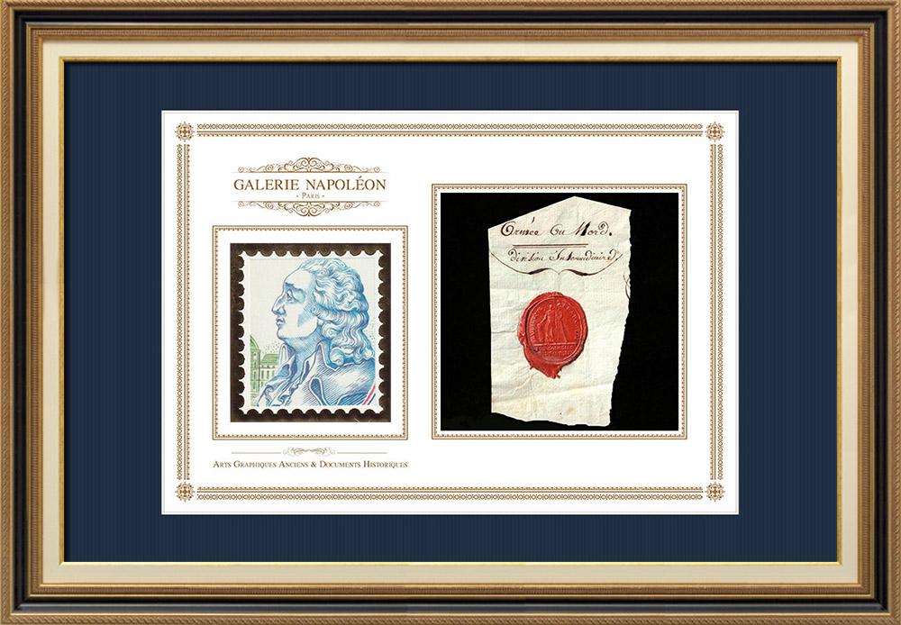 Wax seal - French Revolution - 1793 - 39th Infantry Regiment (Armée du Nord) | Portrait of Nicolas de Condorcet (1743-1794) | Fragment of an original document written around 1793 bearing the wax seal of the 39th Infantry Regiment (Armée du Nord) («39ème Régiment d'Infanterie (Armée du Nord)»)