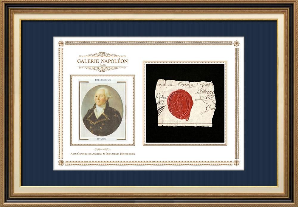 Sceau de cire - Révolution Française - 1796 - 13ème Demi-brigade de Bataille   Portrait de François Christophe Kellermann (1735-1820)   Fragment d'un document d'époque rédigé vers 1796 comportant le sceau de cire de la 13ème Demi-brigade de Bataille