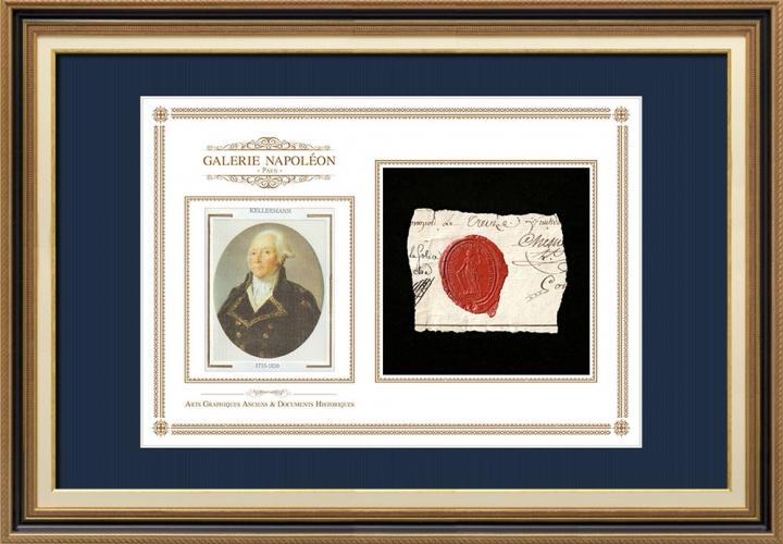 Sceau de cire - Révolution Française - 1796 - 13ème Demi-brigade de Bataille | Portrait de François Christophe Kellermann (1735-1820)