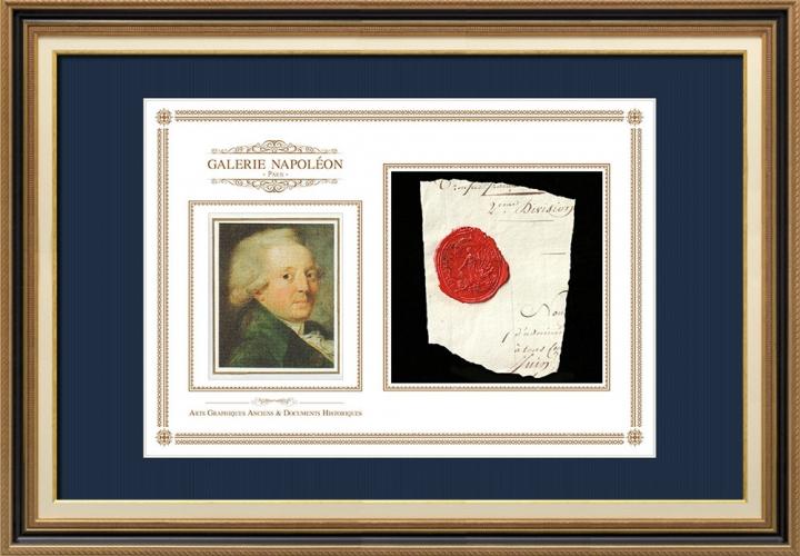 Sigillo di cera - Rivoluzione Francese - 1793 - 49º Semi-brigata Fanteria di Linea | Ritratto di Nicolas de Condorcet (1743-1794)