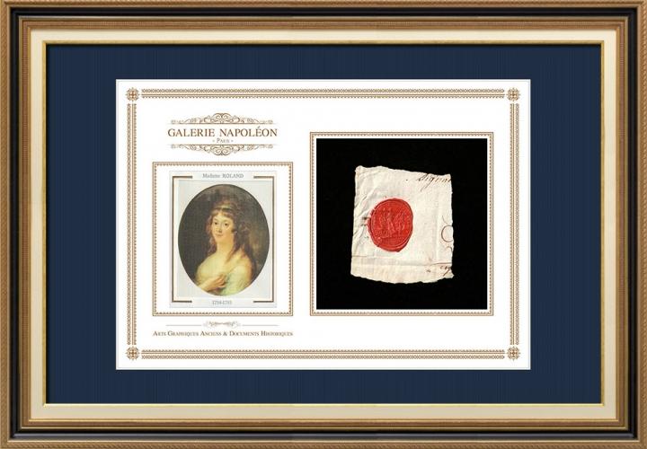 Sigillo di cera - Rivoluzione Francese - 1793 - 50º Semi-brigata Fanteria | Ritratto di Manon Roland (1754-1793)