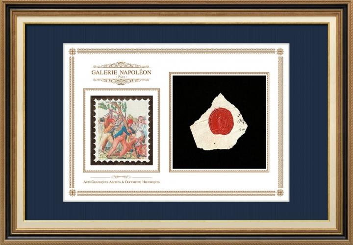 Sigillo di cera - Rivoluzione Francese - 1796 - 62º Semi-brigata Fanteria | Albero della Libertà (Jean-Baptiste Lesueur)
