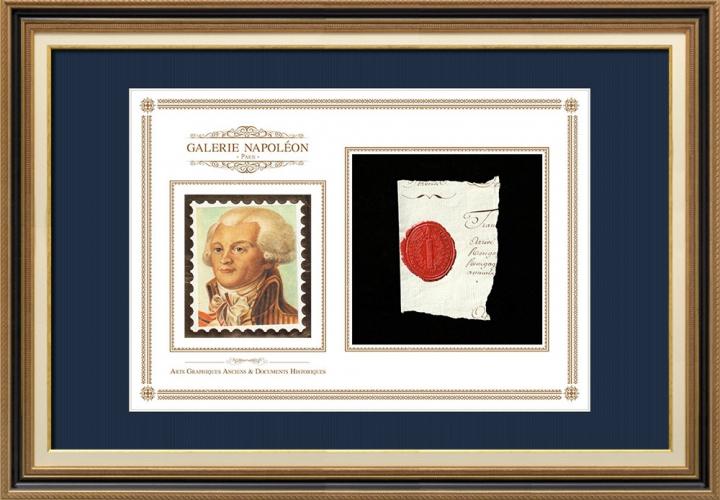 Sigillo di cera - Luigi XVI di Francia - 1791 - 32º Reggimento Fanteria | Ritratto di Maximilien de Robespierre (1758-1794)