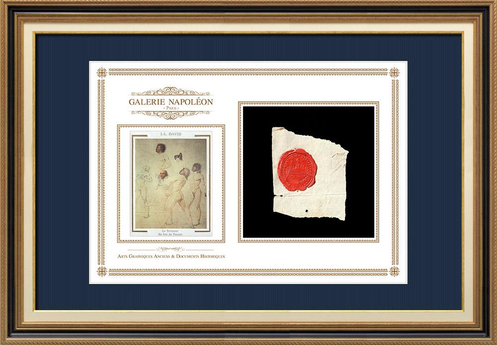 Sceau de cire - Révolution Française - 1795 - 8ème Bataillon d'Infanterie Légère   Serment du Jeu de paume (Jacques-Louis David)   Fragment d'un document d'époque rédigé vers 1795 comportant le sceau de cire du 8ème Bataillon d'Infanterie Légère