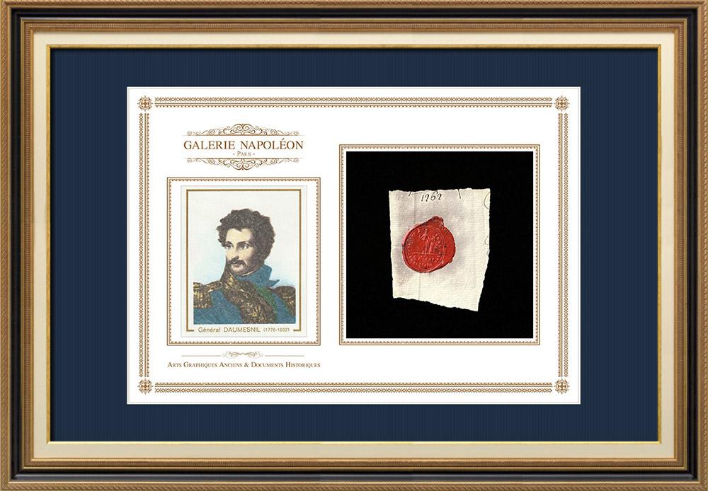 Sceau de cire - Révolution Française - 1793 - 99ème Demi-brigade | Portrait de Pierre Daumesnil (1776-1832) | Fragment d'un document d'époque rédigé vers 1793 comportant le sceau de cire de la 99ème Demi-brigade