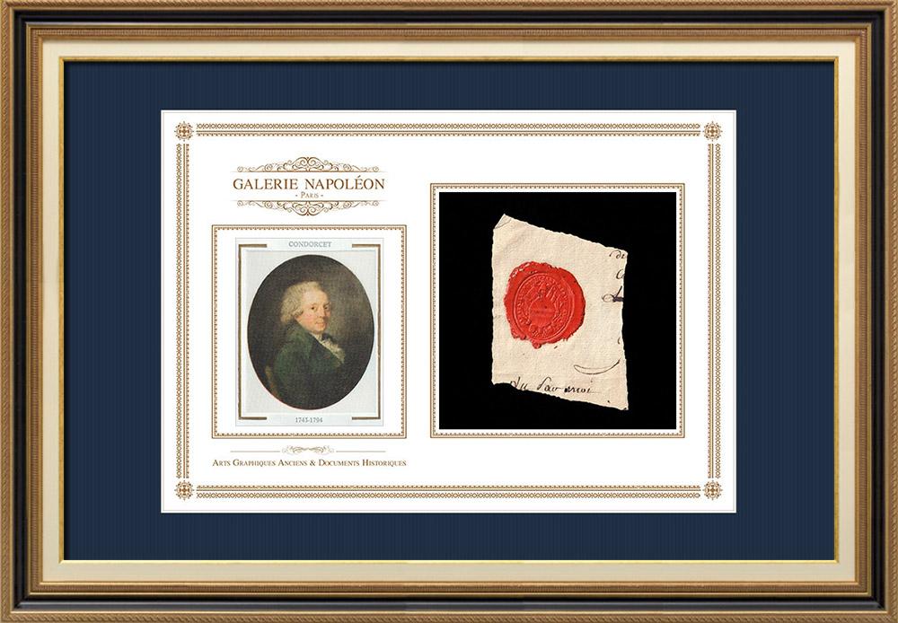 Sceau de cire - Révolution Française - 1796 - 6ème Bataillon du Département de L'Yonne | Portrait de Nicolas de Condorcet (1743-1794) | Fragment d'un document d'époque rédigé vers 1796 comportant le sceau de cire du 6ème Bataillon du Département de L'Yonne