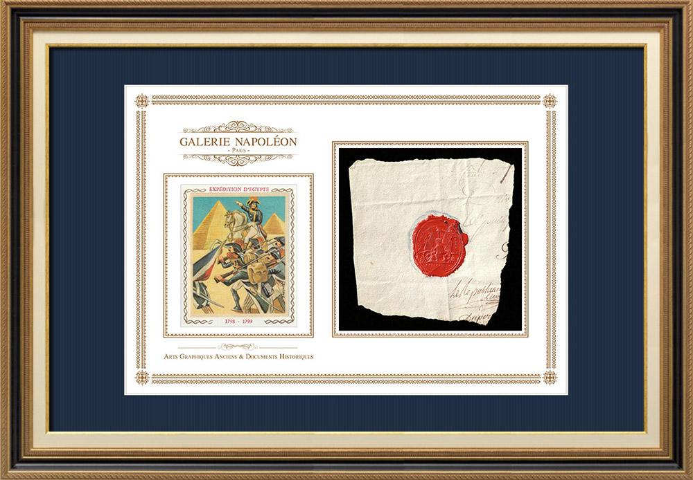 Wax seal - French Revolution - 1796 - 2nd Battalion of the Calvados | Bonaparte - French campaign in Egypt | Fragment of an original document written around 1796 bearing the wax seal of the 2nd Battalion of the Calvados («2ème Bataillon du Calvados»)