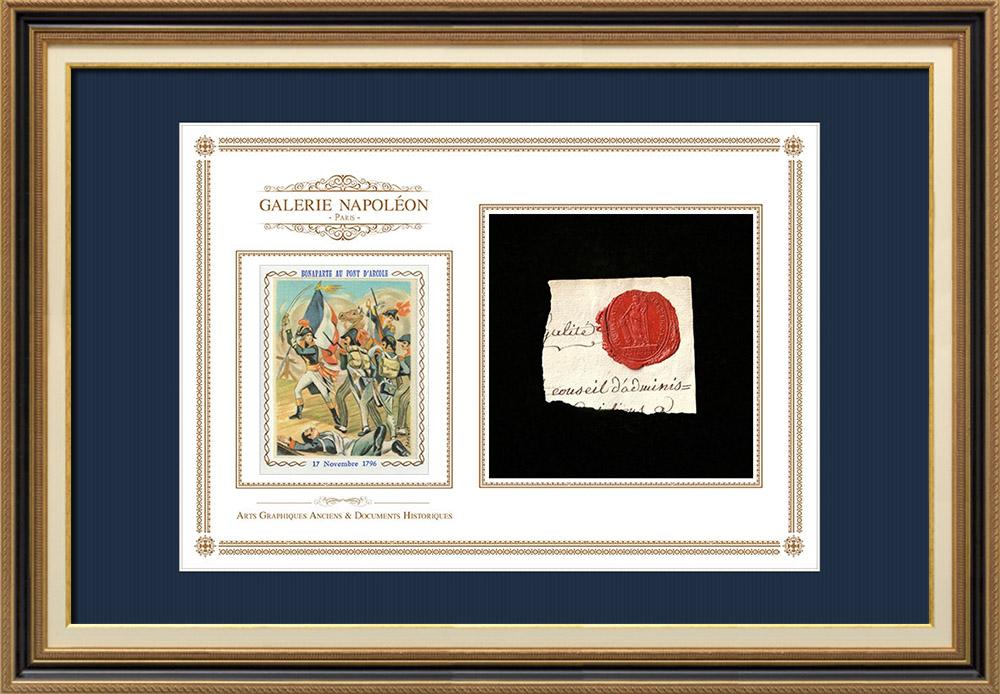 Sceau de cire - Révolution Française - 1795 - 2ème Bataillon de la 128ème Demi-brigade   Napoléon Bonaparte au Pont d'Arcole (Horace Vernet)   Fragment d'un document d'époque rédigé vers 1795 comportant le sceau de cire de la 2ème Bataillon de la 128ème Demi-brigade
