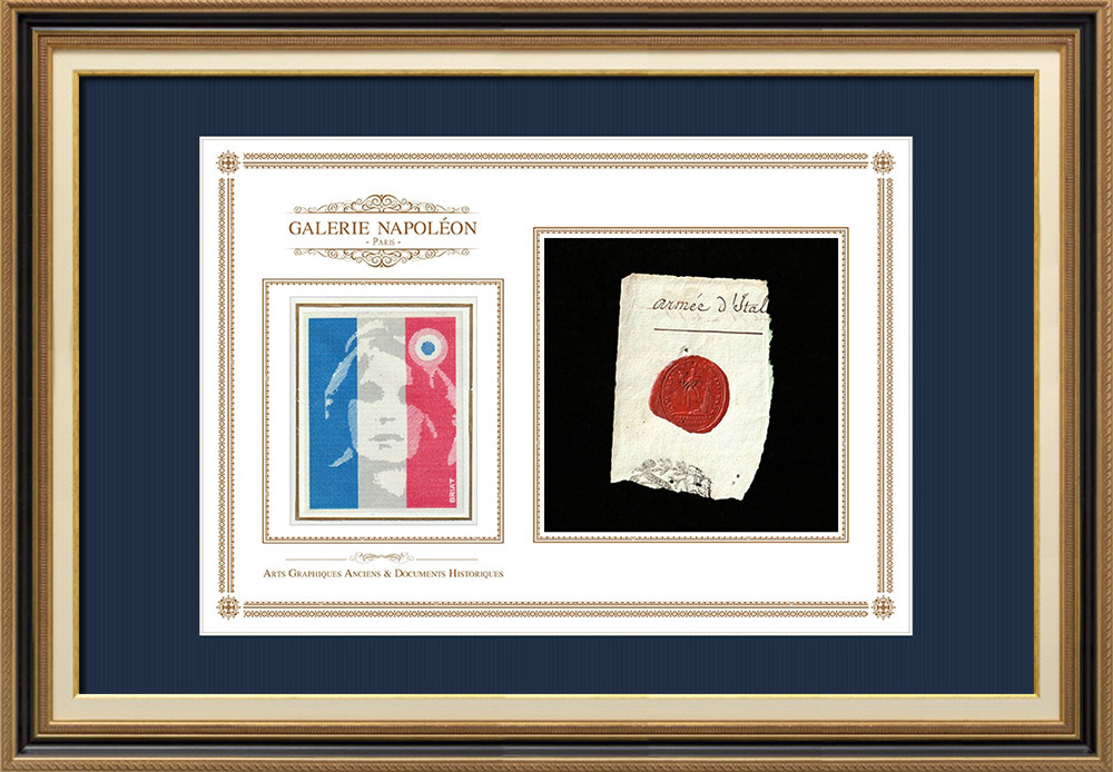 Sceau de cire - Révolution Française - 1796 - 65ème Demi-brigade (Armée d'Italie)   Portrait de Marianne - Figure symbolique de la République française   Fragment d'un document d'époque rédigé vers 1796 comportant le sceau de cire de la 65ème Demi-brigade (Armée d'Italie)