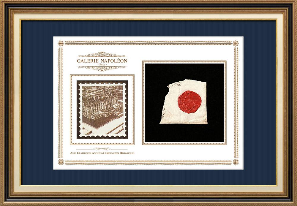Sceau de cire - Révolution Française - 1796 - 2ème Bataillon des Volontaires de l'Aube | Vaux-le-Vicomte | Fragment d'un document d'époque rédigé vers 1796 comportant le sceau de cire du 2ème Bataillon des Volontaires de l'Aube
