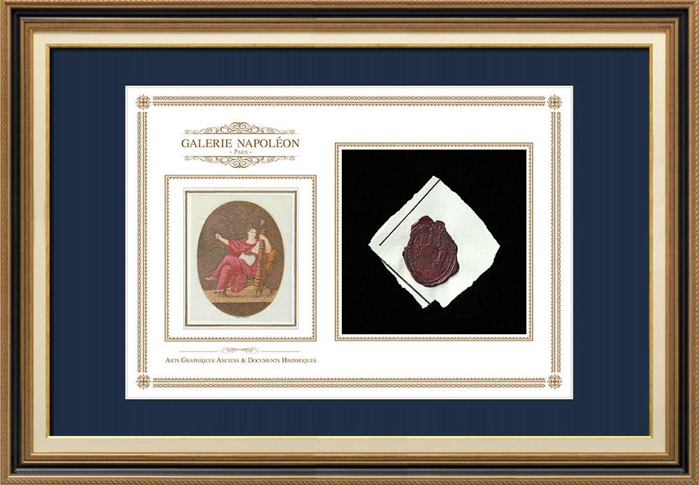 Sceau de cire - Révolution Française - 1796 - 2ème Demi-brigade d'Infanterie Légère | Devise de la République Française - Égalité | Fragment d'un document d'époque rédigé vers 1796 comportant le sceau de cire de la 2ème Demi-brigade d'Infanterie Légère