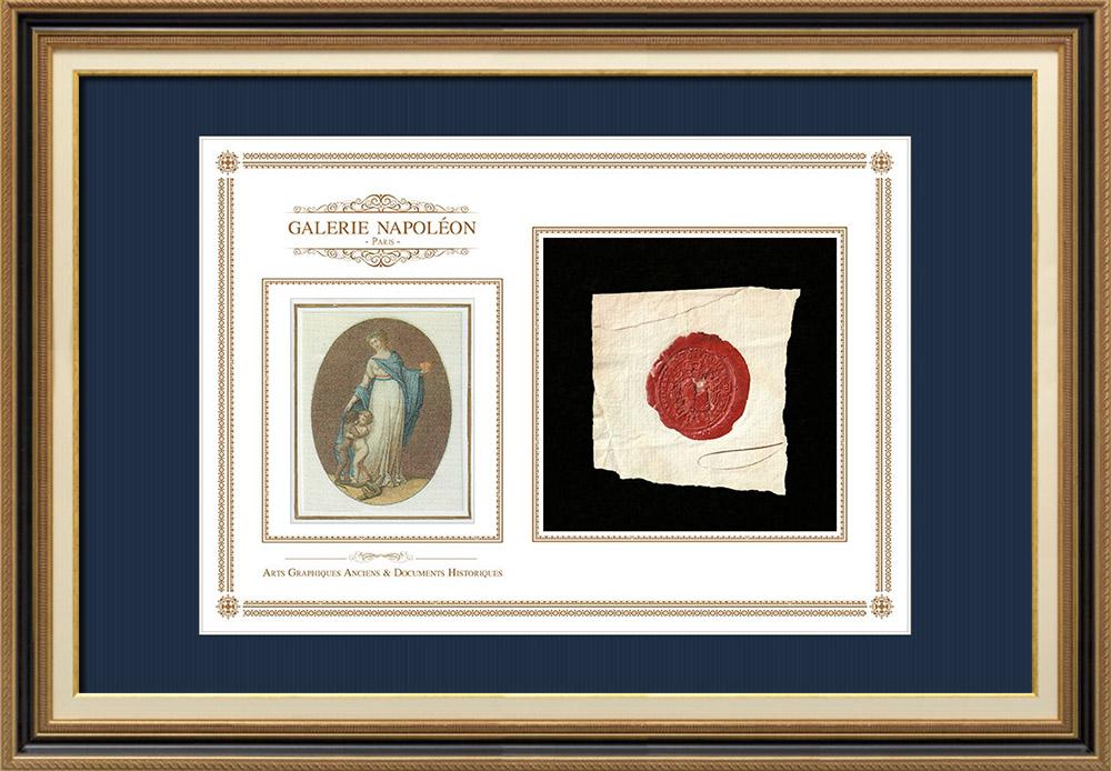 Sceau de cire - Louis XVI - 1788 - Régiment des Grenadiers de France   Devise de la République Française - Fraternité   Fragment d'un document d'époque rédigé vers 1788 comportant le sceau de cire du Régiment des Grenadiers de France