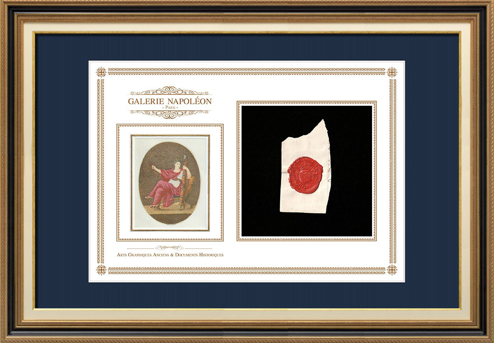 Wax seal - Louis XVI of France - 1788 - Infantry Regiment of Picardie   National Motto of France - Equality   Fragment of an original document written around 1788 bearing the wax seal of the Infantry Regiment of Picardie («Régiment d'Infanterie de Picardie»)
