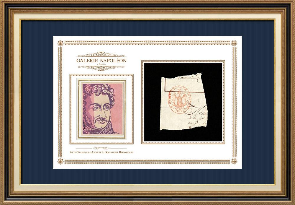 Cachet à encre -  - 1800 - 76ème Demi-brigade de ligne   Portrait de Pierre Daumesnil (1776-1832)   Fragment d'un document d'époque rédigé vers 1800 comportant le cachet à encre de la 76ème Demi-brigade de ligne