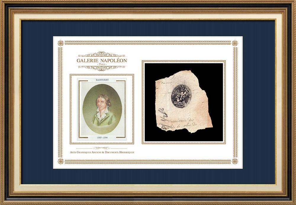 Cachet à encre - Révolution Française - 1794 - 9ème Demi-brigade d'Infanterie Légère | Portrait de Louis Antoine de Saint-Just (1767-1794) | Fragment d'un document d'époque rédigé vers 1794 comportant le cachet à encre de la 9ème Demi-brigade d'Infanterie Légère