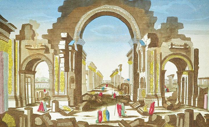 Opticaprent van de Tempel van Bel in Palmyra (Syrië)
