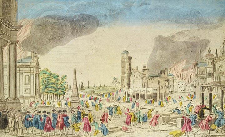 Veduta ottica della Presa e Saccheggio di Bergen op Zoom nel 1747 (Olanda)