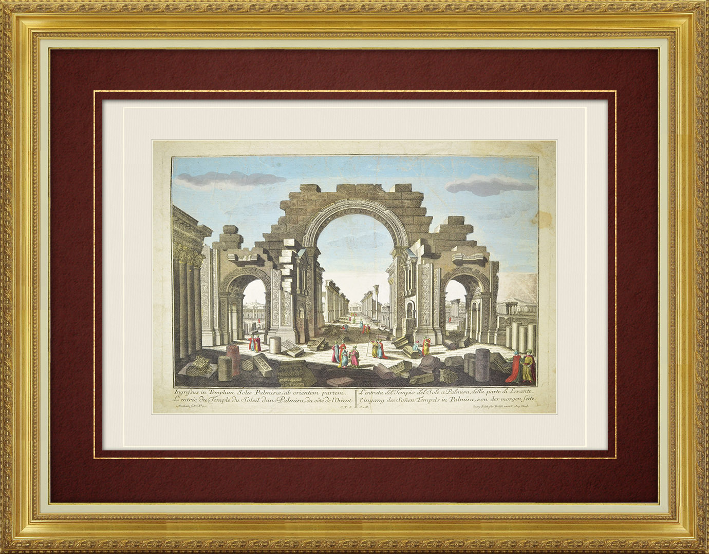 18th Century optical view in original watercolors of the Temple of Bel at Palmyra (Syria)