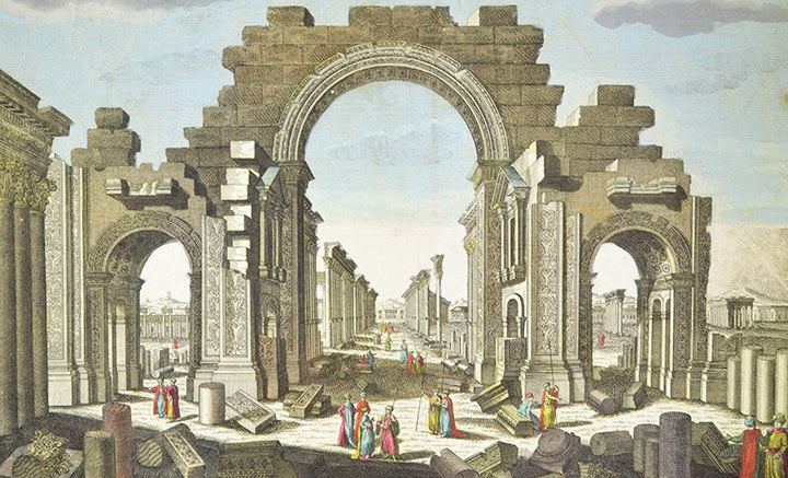 Veduta ottica della Entrata del Tempio di Bel a Palmira della parte di Levante (Siria)