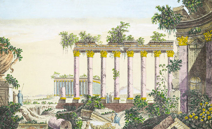 Vista óptica do Templo em Baalbek - Pl.5 (Líbano)