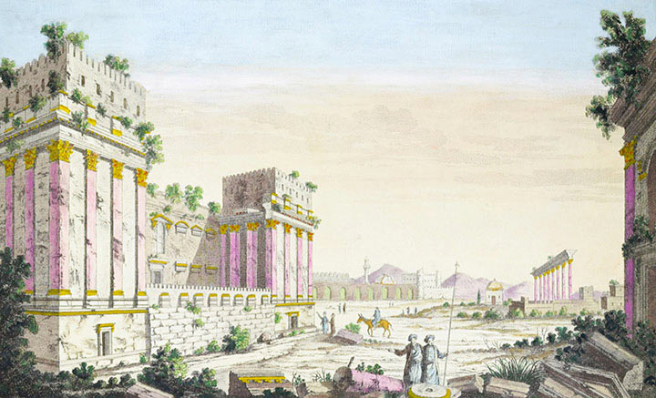 Optical view of the Ruins of the Great Temple at Baalbek - Pl.4 (Lebanon)