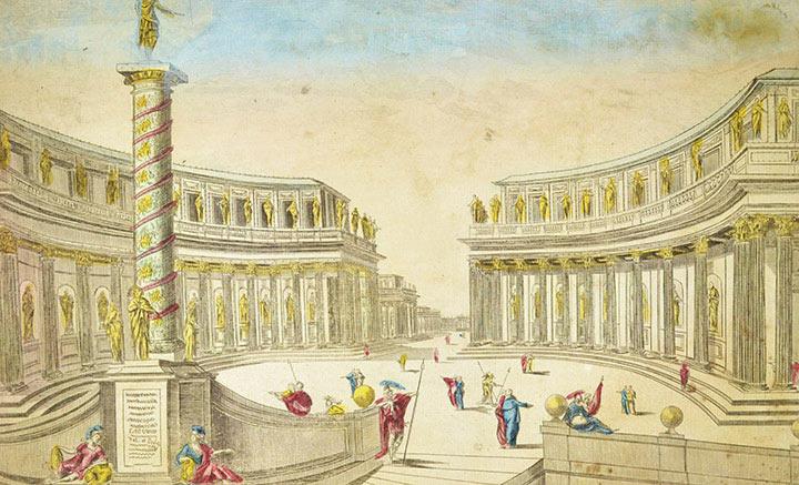 Veduta ottica del Palazzo d'Alessandro Magno (Egitto)