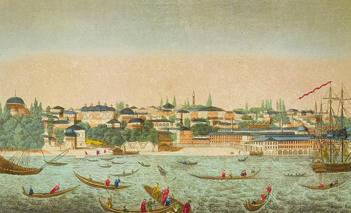 Veduta ottica di Tophane nel Poto di Costantinopoli (Turchia)