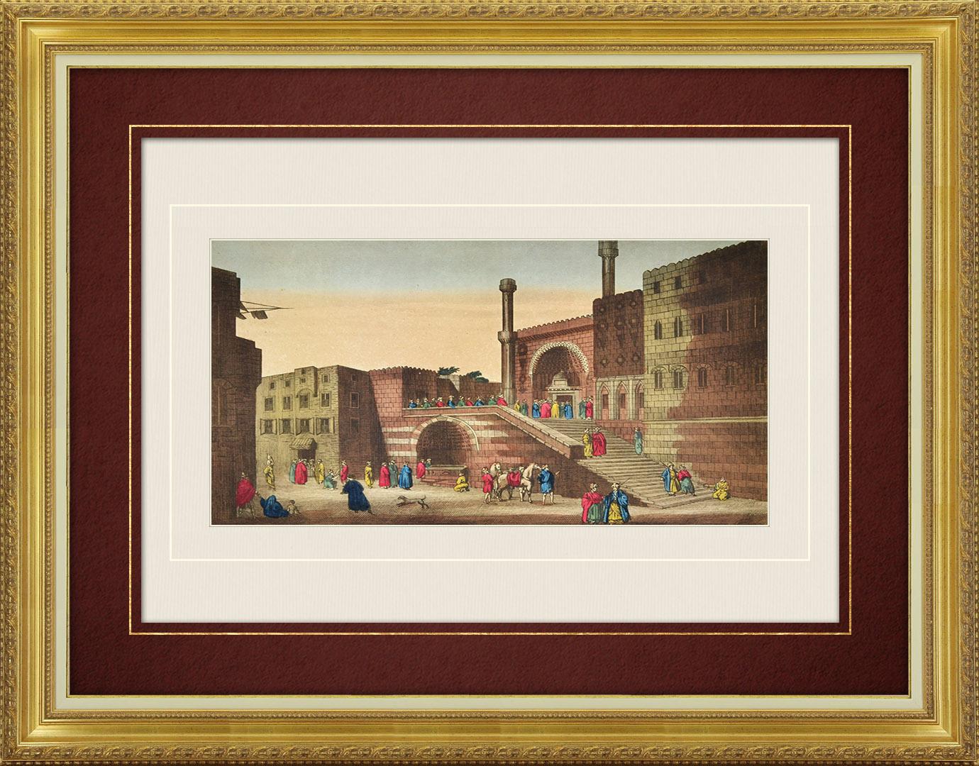 Vue d'optique du 19e siècle en coloris d'époque du Caire - Mosquée al-Ghawri - Fontaine des Amants (Egypte)