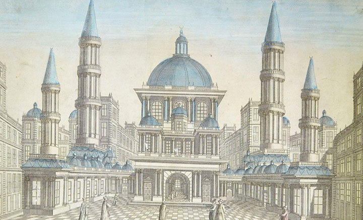 Veduta ottica della Moschea Hagia Sophia a Costantinopoli (Turchia)