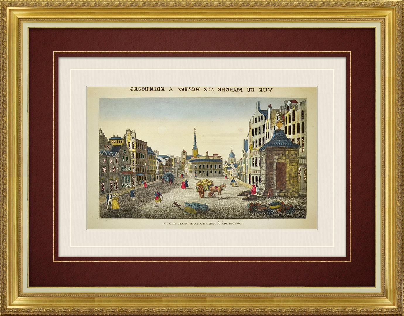 19th Century optical view in original watercolors of Grassmarket in Edinburgh (Scotland)