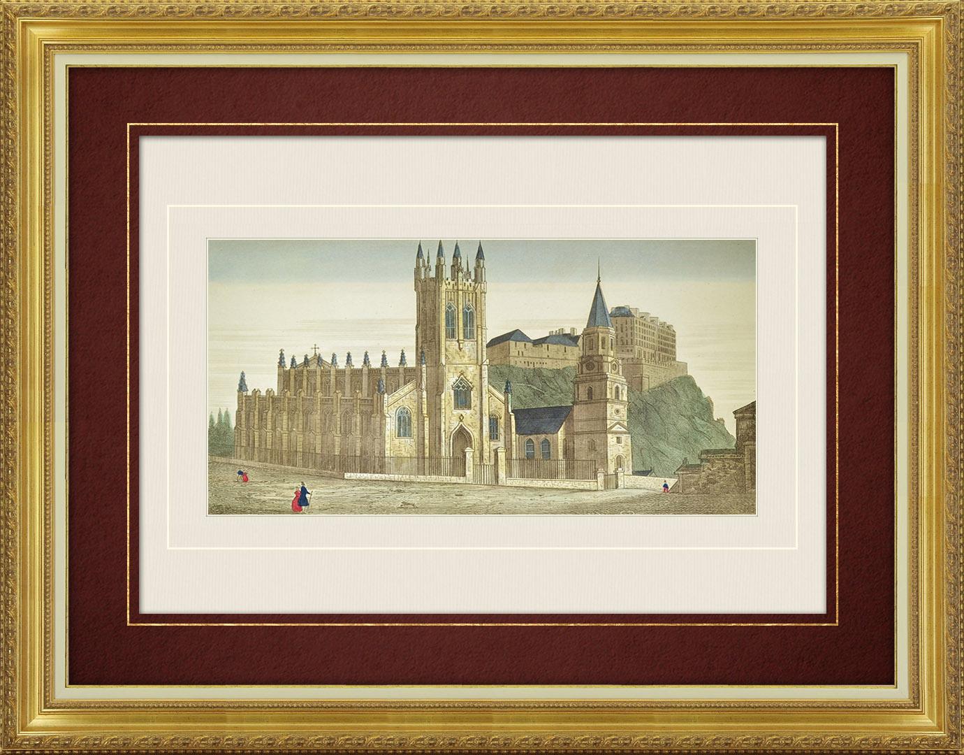 Vue d'optique du 19e siècle en coloris d'époque de la Chapelle St Jean et de l'Eglise St Cuthbert à Edimbourg (Ecosse)