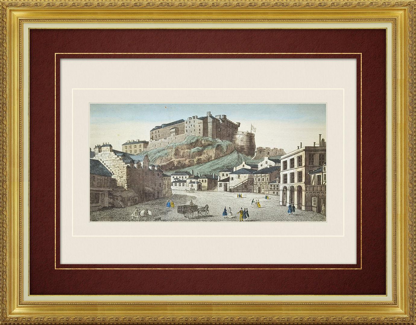 19th Century optical view in original watercolors of Edinburgh Castle (Scotland)