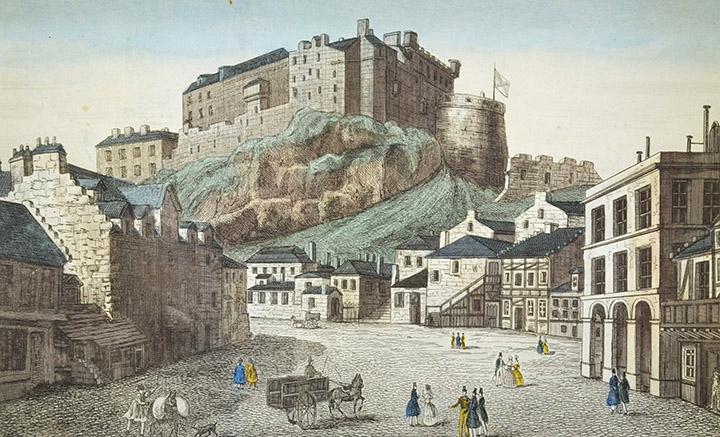 Vista óptica del Castillo de Edimburgo (Escocia)