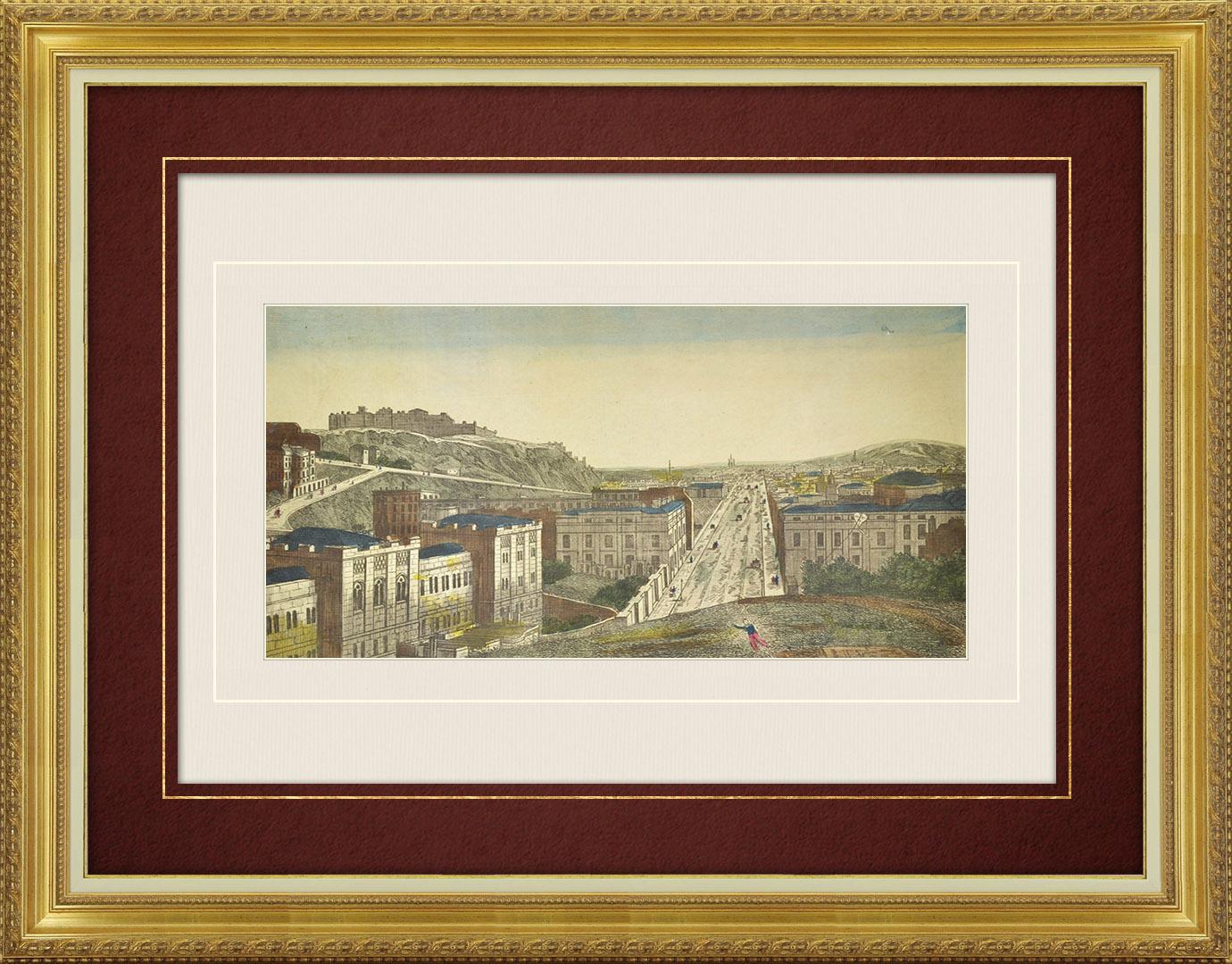 Veduta ottica del 19 secolo a colori d'epoca del Castello di Edimburgo e High Street (Scozia)
