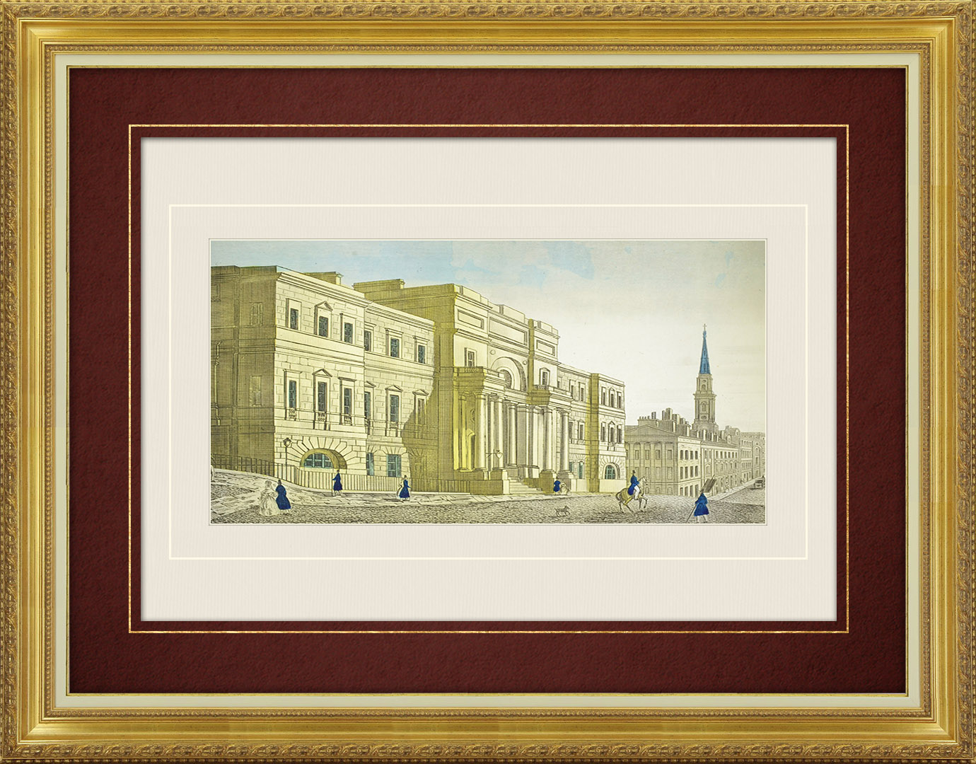 19th Century optical view in original watercolors of the University of Edinburgh (Scotland)