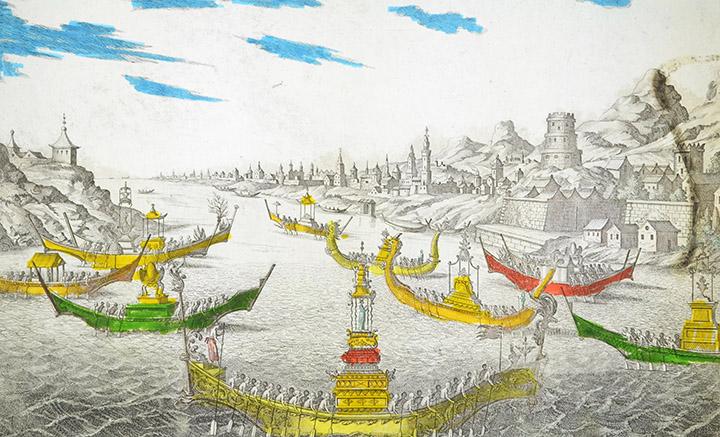 Vista óptica del Siam - Barcos Chinos (Tailandia)