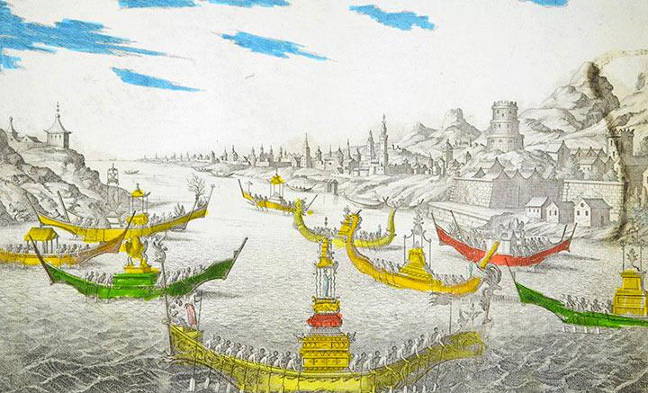Vue d'optique Widok Siam - Chińskie łodzie (Tajlandia)