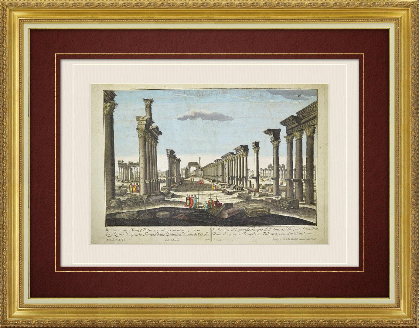 Vue d'optique du 18e siècle en coloris d'époque des Ruines du Grand Temple de Palmyre (Syrie)