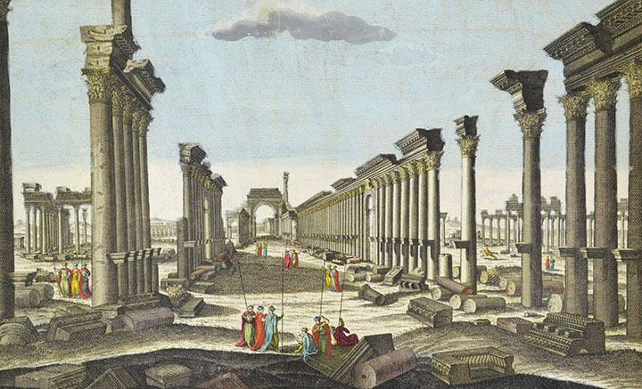 Veduta ottica dei Rovine del Grande Tempio di Palmira (Siria)