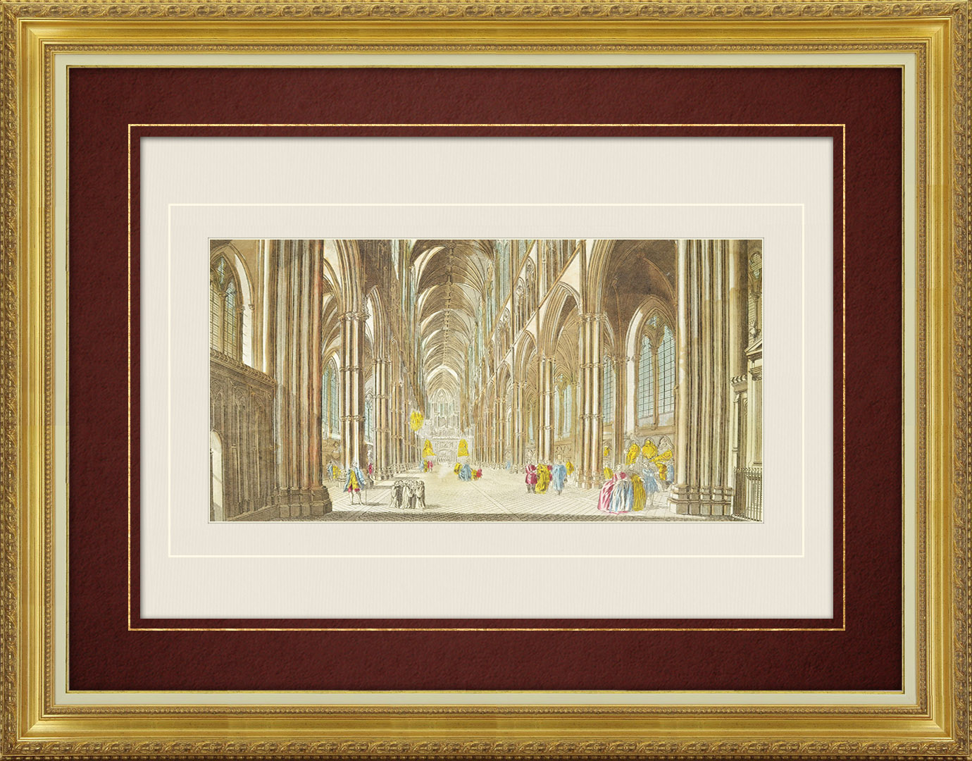 18th Century optical view in original watercolors of Westminster Abbey in London (England)