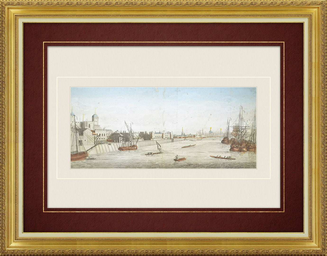 18th Century optical view in original watercolors of the River Thames in London (England)