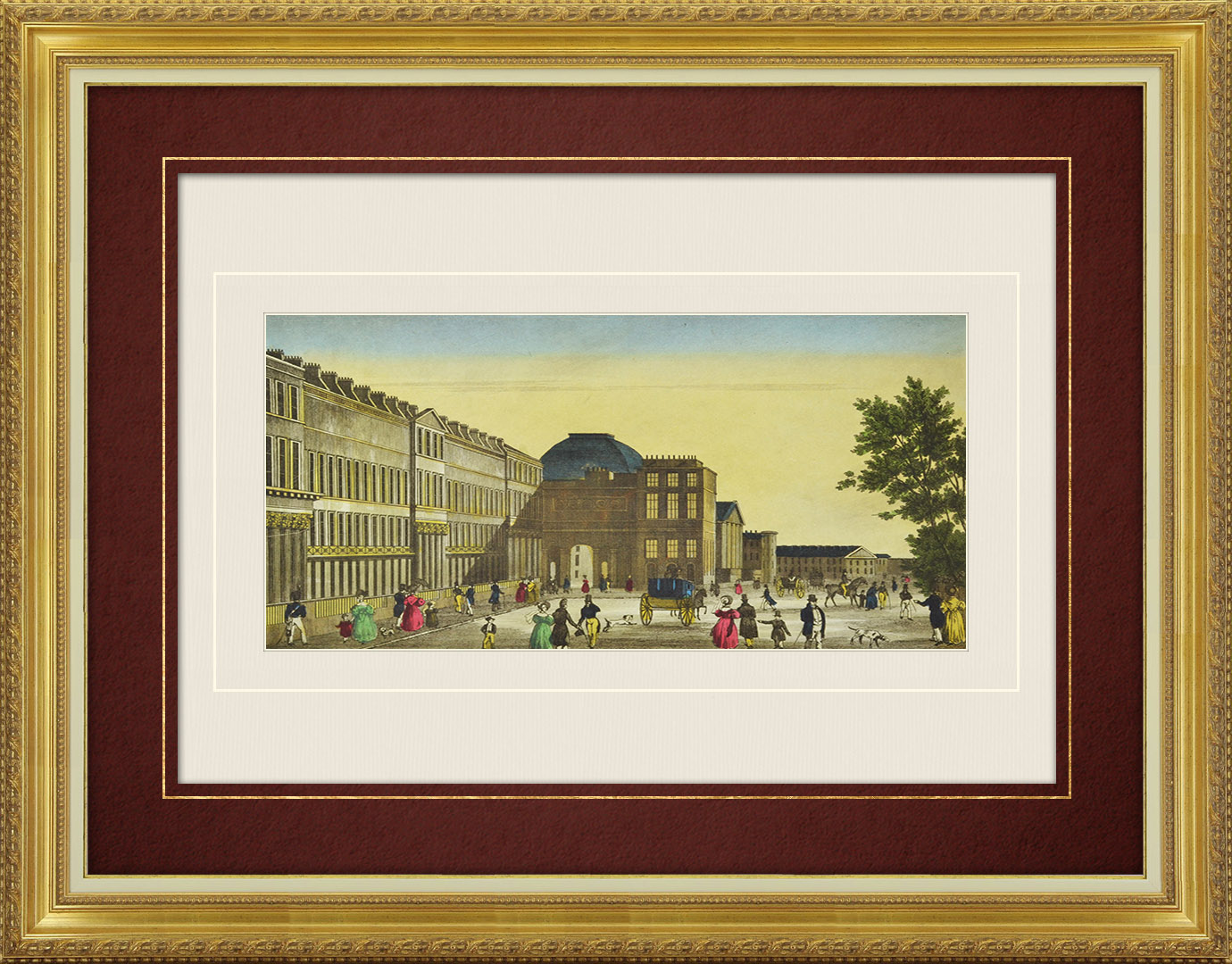 19th Century optical view in original watercolors of Chester Terrace in Regent's Park at London (England)