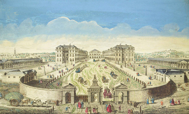 Optical view of the Foundling Hospital in London (England)