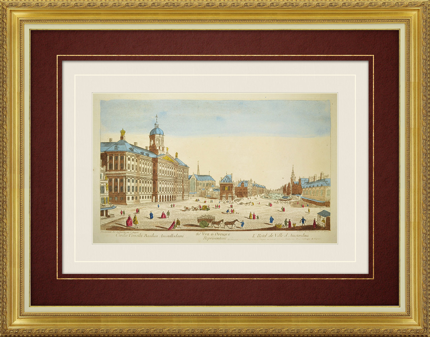 18th Century optical view in original watercolors of the City Hall of Amsterdam (Holland)