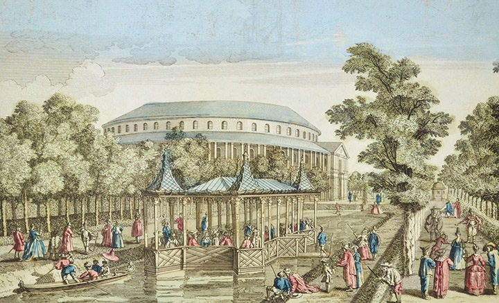 Optical view of the Rotunda and the Canal of Ranelagh Gardens in London - Chelsea (England)