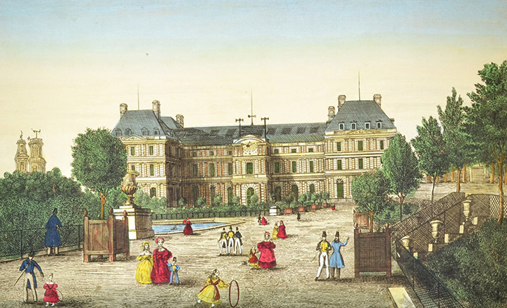 Optical view of Luxembourg Palace in Paris (France)
